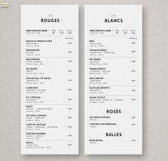 minimal drink menu Drink Menu Design, Cafe Menu Design, Restaurant Menu Design, Restaurant Branding, Pinot Gris, Menue Design, Menu Layout, Food Graphic Design, Coffee Menu