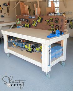 17 DIY Workbench Plans That Are All Free: Free Workbench Plan from Shanty 2 Chic woodworking bench woodworking bench bench diy bench garage workbench bench plans Workbench On Wheels, Workbench Plans Diy, Building A Workbench, Workbench Designs, Mobile Workbench, Woodworking Workbench, Woodworking Crafts, Garage Workbench, Folding Workbench