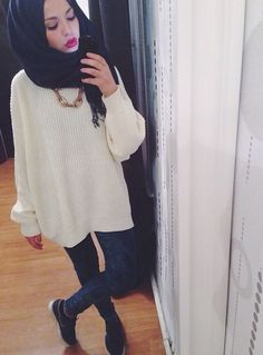 Oversized white sweater || skinnies || love her scarf style and makeup IG…