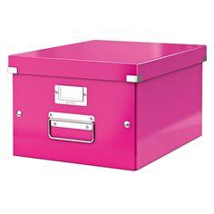 Leitz 6044 WOW medium opbergdoos roze metallic  |  De Leitz 6044 medium opberg- en transportdoos WOW roze metallic is geschikt voor A4 documenten zoals showtassen, zichtmappen ringbanden etc. Deze archiefdoos is door de unieke Click & Store technologie zeer gemakkelijk in en uit elkaar te klikken. Daarnaast bevat deze archiefdoos metalen handvaten waardoor deze makkelijk te vervoeren is.