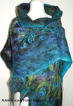 nuno felted silk scarf handmade art to wear, silk wool eco fashion by Kantorysinska photo 3/5