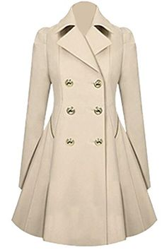 XTX Womens Winter Double Breasted Midi Long Wool Coat with Pockets Apricot L * Want additional info? Click on the image. (This is an affiliate link)