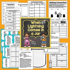 This unit for When Lightning Comes in a Jar by Patricia Polacco is the perfect unit to use as mentor text lessons for character analysis, author's craft, and writer's voice. This unit includes materials to use with a guided reading group in a before/during/after format. It includes schema building about the family reunions, vocabulary pages, making connections, character traits, story elements, a RAFT project, questioning task cards and recording sheet, and writing in response to reading.