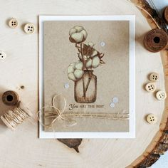 Color a stamped image with pencils of brown shade on a kraft cardstock to get an interesting result of a sketch like image. Cotton branches in jar. Details: http://craftwalks.com/2017/06/05/lesia-zgharda-cottons-jar-coloring-pencils/