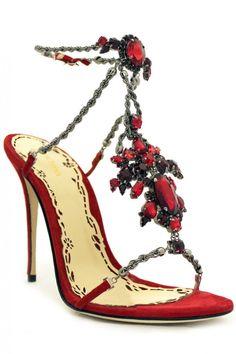 Marchesa Sandales Bijoux Rouges en Strass et Chaine Argent à Talons Krista.......