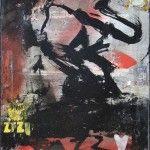 """Lars Pryds: """"Jazz, Jazzy"""" 2010. Maleri/collage på lærred, 40 x 30 cm."""