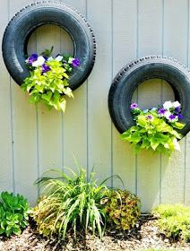 """""""tire planters"""" LOVE this idea for John's old tires Tire Craft, Tire Garden, Garden Bed, Tire Pond, Balcony Garden, Reuse Old Tires, Recycled Tires, Recycled Planters, Recycled Garden"""