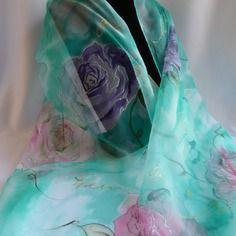 Etole écharpe foulard en mousseline de soie peint main vert céladon &quot…
