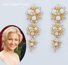 """Ivory & Gold Chandelier Earrings 3"""" Celebrity Inspired by Kate Hudson's Oscar Jewelry $23 Free USA Shipping"""