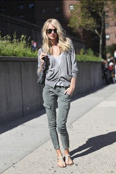 Shop this look on Lookastic:  http://lookastic.com/women/looks/cardigan-and-crew-neck-t-shirt-and-crossbody-bag-and-cargo-pants-and-flip-flops/2369  — Grey Cardigan  — Grey Crew-neck T-shirt  — Black Leather Crossbody Bag  — Grey Cargo Pants  — Grey Leather Thong Sandals