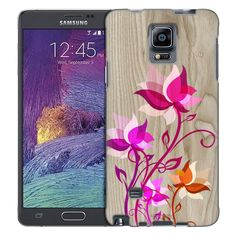 Samsung Galaxy Note 4 Bright Painted Flowers on Wood Trans Case