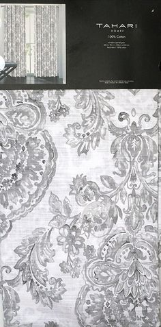 Tahari Window Panels Curtains 52 by 96-inch Set of 2 Damask Medallions in Shades of Gray on White 52 Inches by 96 Inches ** See this great product. (This is an affiliate link and I receive a commission for the sales)