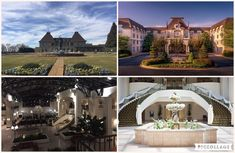 The Chateau Top Left: Front Drive Top Right: Back of hotel Bottom Left: Grand foyer Bottom Right: Grand staircase