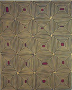 painting by Ronnie Tjampitjinpa, in the Gallery of New South Wales funky nexus between Aboriginal art and Op art.