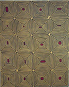 painting by Ronnie Tjampitjinpa, in the Gallery of New South Wales funky nexus between Aboriginal art and Op art.