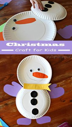 Cute Paper Plate Snowman Craft is one of best kids crafts to make in the winter time!