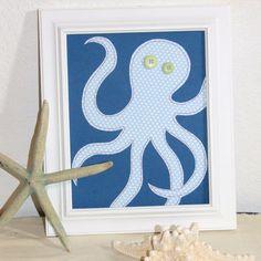 Octopus Nautical Nursery Art, Boy Wall Art, Nursery Decor, Custom Sewn Paper Collage 8 x 10