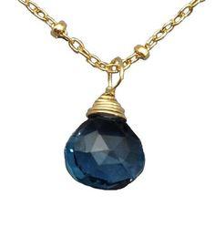 Sonya Rene Tear Drop Stone Necklace- London Blue Topaz