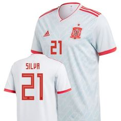 3898e74fe Men  21 Silva Jersey Away Spain National 2018 FIFA World Cup