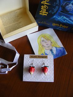 Luna Lovegood Radish Earrings + original signed artwork - gift box -