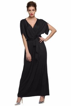 efdf5c2daf6 Sexy Women Lady Batwing Sleeve Deep V Neck Solid Maxi Long Dress Party  Evening Full Gown with Belt vestidos femininos S-XXL