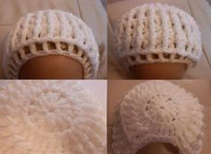 Free Crochet Patterns for Baby Bonnets : Basic bonnet; you can add and embellish as required. Baby Bonnet Pattern, Crochet Baby Bonnet, Crochet Baby Hat Patterns, Baby Hat Knitting Pattern, Vintage Crochet Patterns, Baby Girl Crochet, Crochet Baby Clothes, Crochet Hats, Baby Patterns