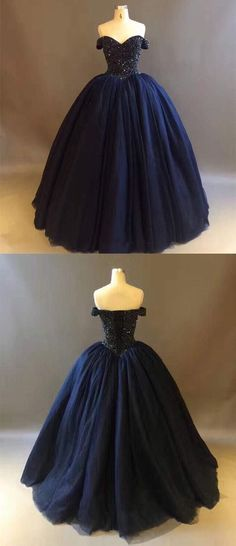 Dark Navy Blue Quinceanera Dresses with Rhinestones Beaded Elegant Puffy Ball Gowns Sweet 16 Dress Vestido by ainiprom, $190.75 USD