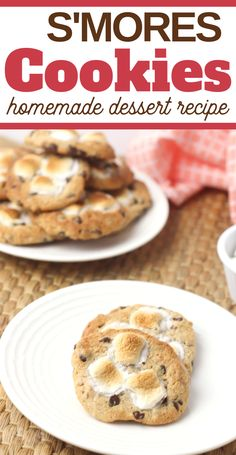 This easy Smores Cookies Recipe is a seriously easy cookie that LOOKS complicated--and the kids absolutely love it--you're going to love it, too (so gooey and just. Homemade Cookies, Homemade Desserts, Yummy Cookies, Easy Desserts, Delicious Desserts, Dessert Recipes, Smores Cookies, Smores Dessert, Meals Kids Love