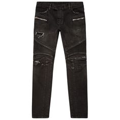 Balmain Slim Distressed Biker Jeans ($1,225) ❤ liked on Polyvore featuring men's fashion, men's clothing, men's jeans, balmain men's jeans, mens denim jeans, mens slim cut jeans, mens slim jeans and mens ripped jeans