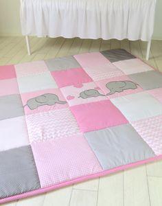 Baby Playmat, Chevron Play Mat, Pink Gray Baby Rug, Crawling Blanket by Customquiltsbyeva on Etsy https://www.etsy.com/listing/249225562/baby-playmat-chevron-play-mat-pink-gray