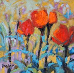 """Ivy Delon Fine Art-""""Poppies and Turquoise"""" 12x12 Oil on Linen"""