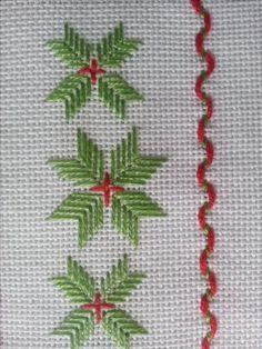Christmas poinsettia cross stitch.