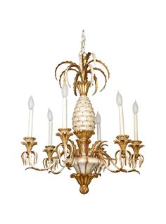 Italian Carved Pineapple Six-light Chandelier