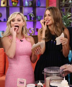 Pin for Later: All the Times Reese and Sofia Proved That Work BFFs Are the Best During an appearance on Despierta America, they indulged in some snacks. . .