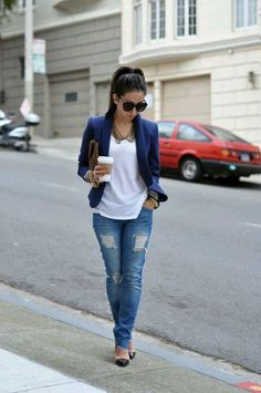 Look: Blazer Azul Style Casual, Work Casual, Casual Looks, Casual Fall, Blazer Outfits Casual, Outfit Jeans, Stylish Outfits, Sweater Outfits, Mode Outfits