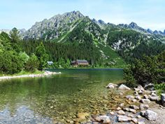 Our next challenge in the High Tatras was conquering 2503 meters high Rysy peak which lies exactly on the border of Slovakia and Poland. High Tatras, Stone Mountain, Lake Forest, Wallpaper Pc, Free Pictures, Wander, Golf Courses, Hiking, River