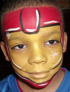 Boy Face Paint Design Iron man