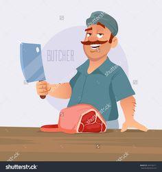 cartoon vector illustration, butcher cut the meat, butcher shop, cartoon character