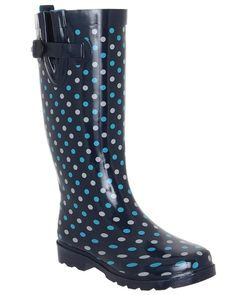 Capelli New York Shiny On the Dot Printed Ladies Rubber Rain Boot ** Continue to the product at the image link.