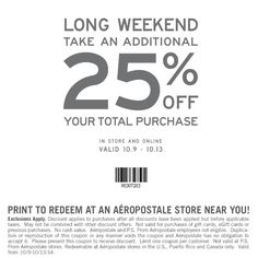 Pinned October 9th: 25% off at #Aeropostale, or online via promo code THANKS25 #coupon via The #Coupons App