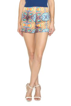 High waisted shorts in vibrant orange and blue kaleidoscope geode print.    Geode Allegra Short by The House of Perna. Clothing - Shorts - Mini Delray Beach, Florida