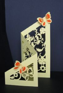 Tri-fold floral & butterfly cut-out card template