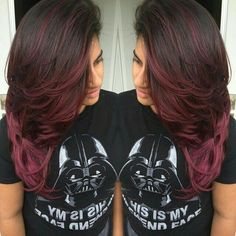 Dark Red Velvet - 50 Shades of Burgundy Hair Color: Dark, Maroon, Red Wine, Red Violet - The Trending Hairstyle Pelo Color Vino, Hair Color And Cut, Looks Cool, Hair Highlights, Fall Hair, Pretty Hairstyles, Brown Hairstyles, Latest Hairstyles, Messy Hairstyles