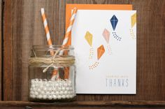 Kite Thank You Greeting Card by ruffhouseart on Etsy, $4.00