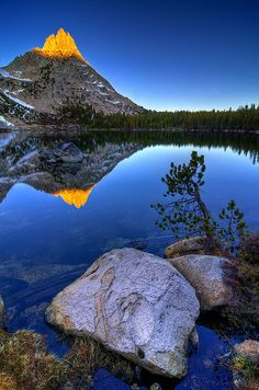 Lower Young Lake, Yosemite Natl. Park, CA. by Oufti!, via Flickr  Looks like Cathedral Peak to me.