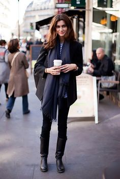 black pants boots and blazer, white blue striped shirt and dark blue scarf