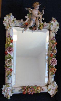 Antique Sitzendorf Mirror Cherub Flowers Easel Putti Dresden Porcelain NR   eBay