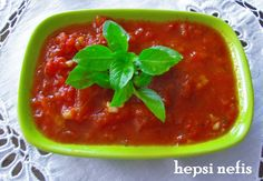 domates sos Tomato Sauce, Sauce Recipes, Thai Red Curry, Chili, Recipies, Food And Drink, Soup, Stuffed Peppers, Vegetables