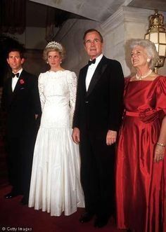 1985 Diana, Charles, President George Bush and The First Lady, Mrs Barbara Bush