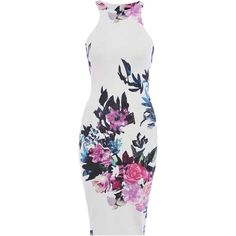 Choies White Retro Floral Cut Away Midi Bodycon Dress ($14) ❤ liked on Polyvore